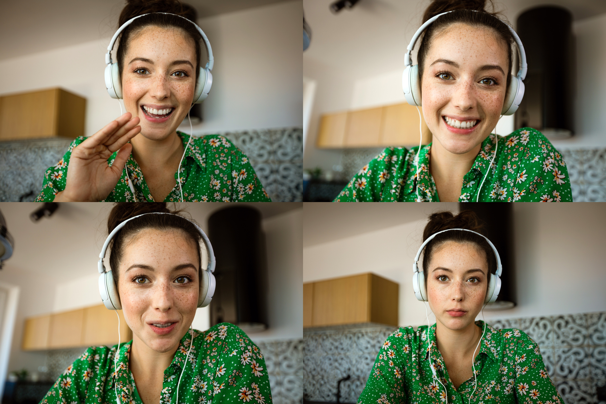 Four faces of young woman having video conference, using laptop. Composite images.
