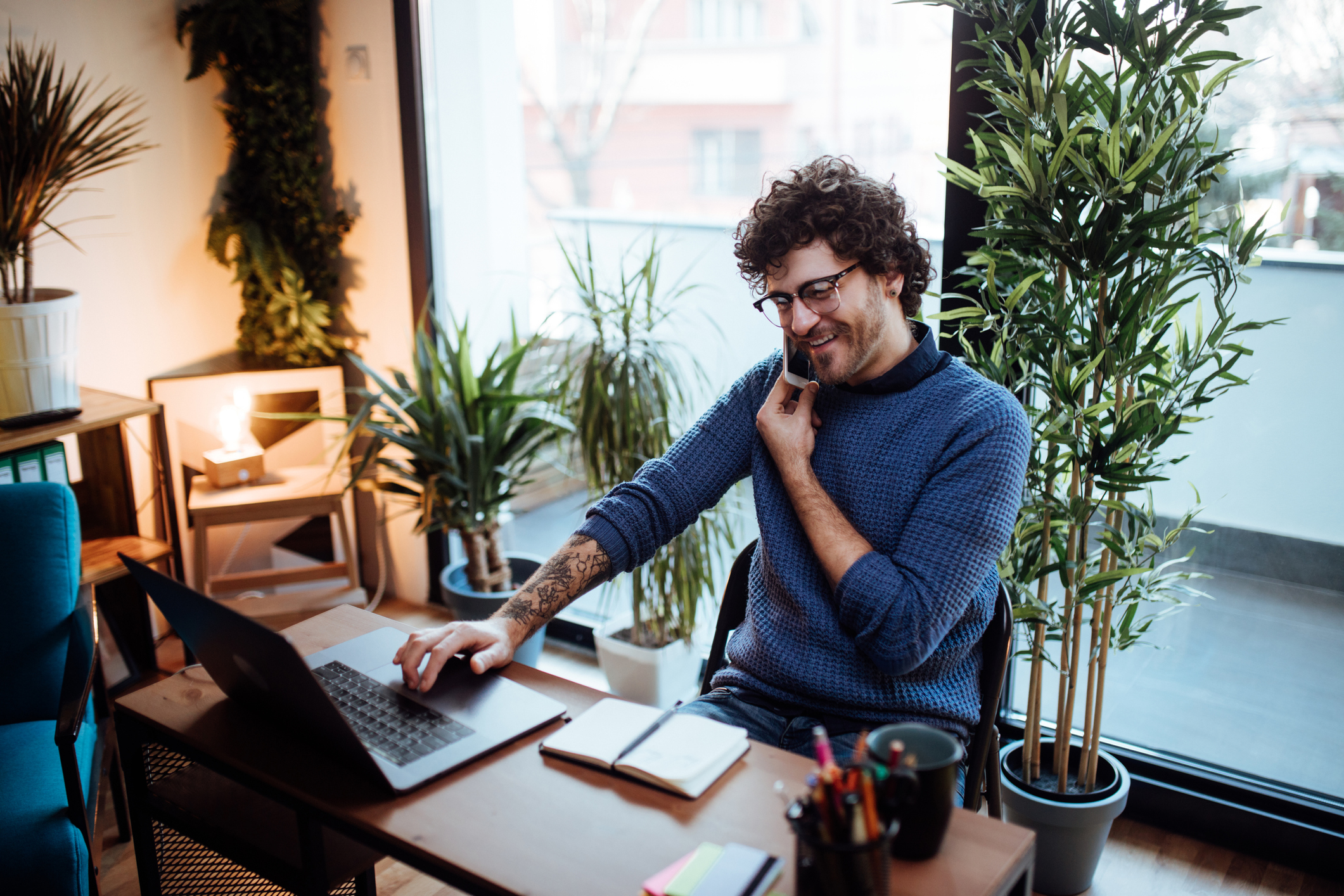 working-at-his-home-office