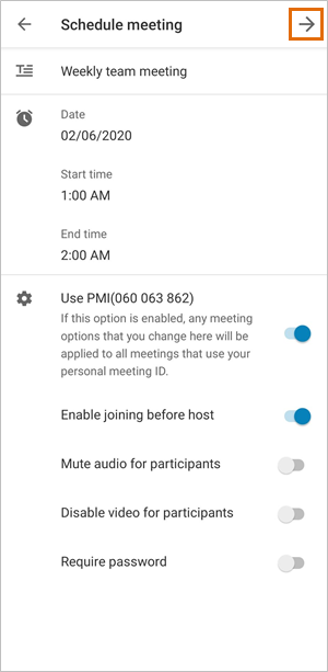 Screen showing how to schedule an online meeting
