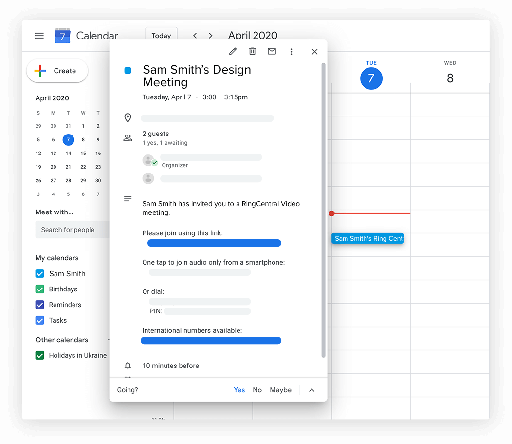 Interface showing how to schedule meeting in calendar