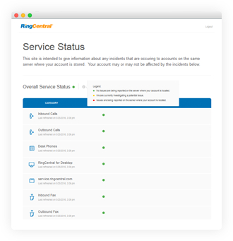 Check real-time system information about RingCentral reliability anytime.