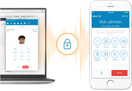 RingCentral technology encrypts transmission data