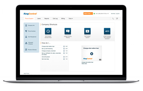 The RingCentral system features user-friendly designs