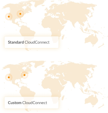 Virtual private cloud access in several locations