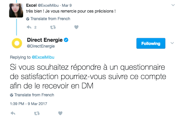Direct Energie questionnaire
